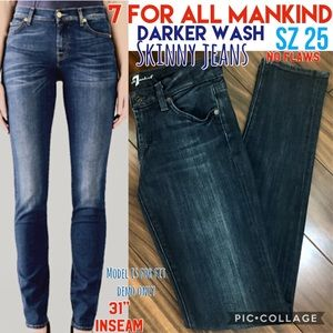 7 For All Mank Skinny Low-Mid Rise 25 No Flaws EUC